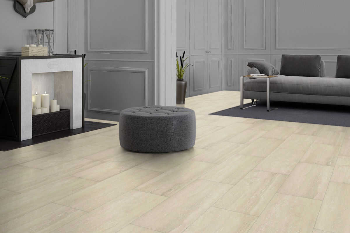 VisioGrande Laminat Autentico Fliese Travertin 8 mm