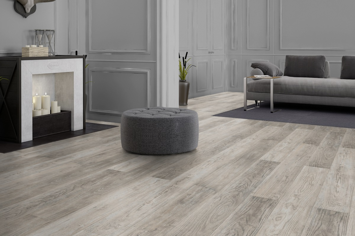 FLOOR24 Laminat Landhausdiele Steamboat Elm grau 8 mm